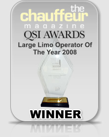 Winner of the Chauffeur Magazine QSI Award for Large Limo Operator of the Year 2008